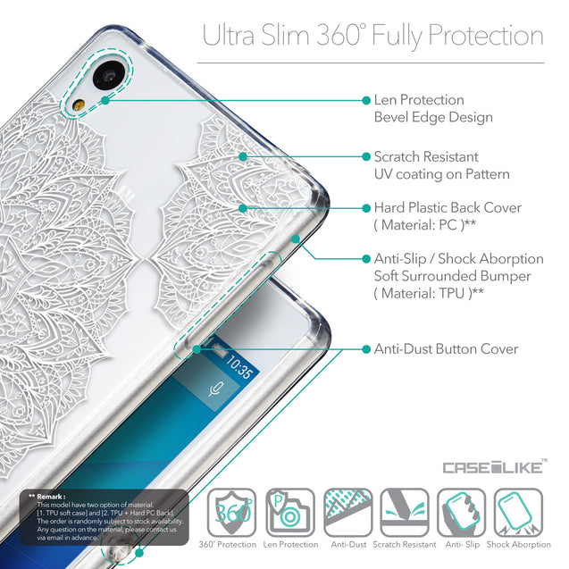 Details in English - CASEiLIKE Sony Xperia Z3 Plus back cover Mandala Art 2091