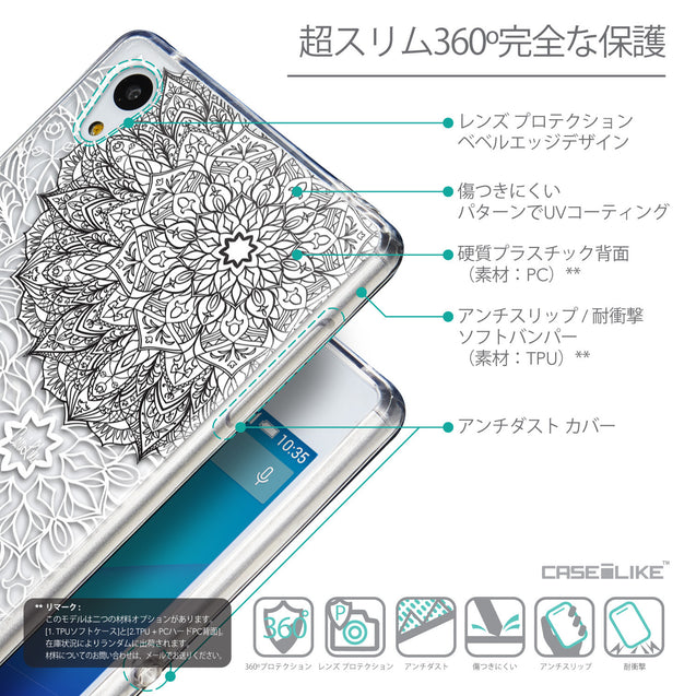 Details in Japanese - CASEiLIKE Sony Xperia Z3 Plus back cover Mandala Art 2093