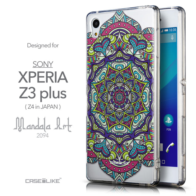 Front & Side View - CASEiLIKE Sony Xperia Z3 Plus back cover Mandala Art 2094