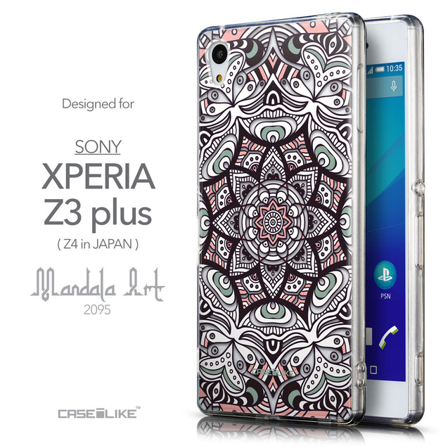 Front & Side View - CASEiLIKE Sony Xperia Z3 Plus back cover Mandala Art 2095