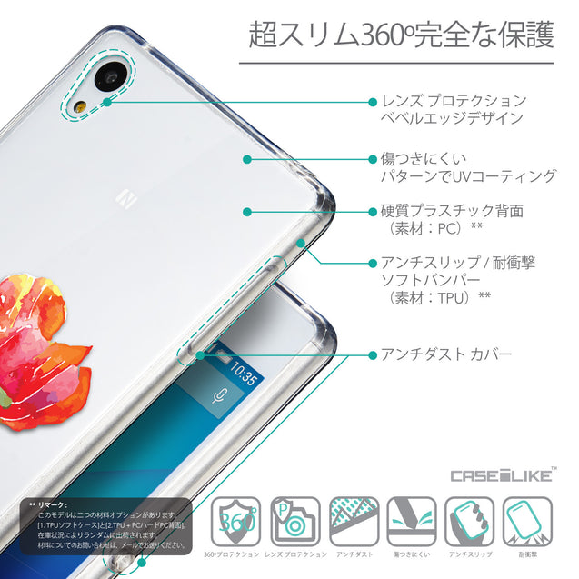 Details in Japanese - CASEiLIKE Sony Xperia Z3 Plus back cover Watercolor Floral 2230