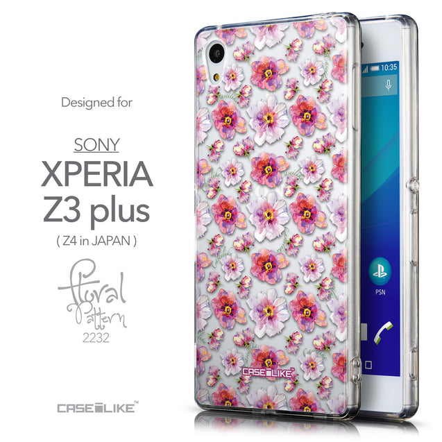 Front & Side View - CASEiLIKE Sony Xperia Z3 Plus back cover Watercolor Floral 2232