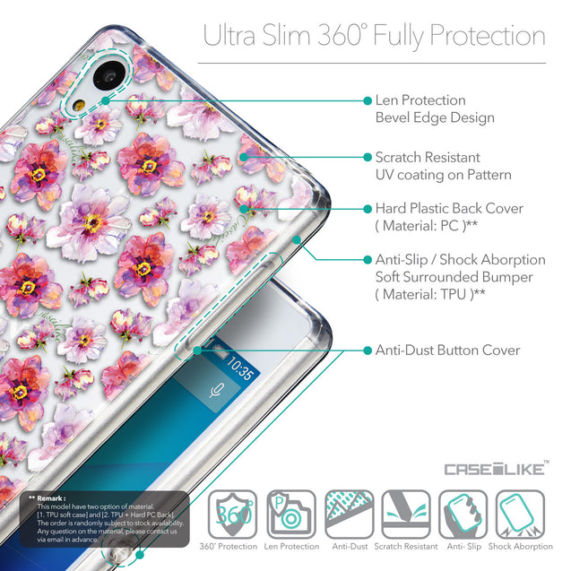 Details in English - CASEiLIKE Sony Xperia Z3 Plus back cover Watercolor Floral 2232