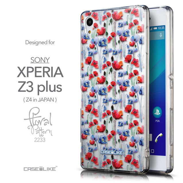 Front & Side View - CASEiLIKE Sony Xperia Z3 Plus back cover Watercolor Floral 2233