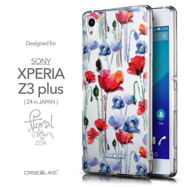 Front & Side View - CASEiLIKE Sony Xperia Z3 Plus back cover Indian Line Art 2061