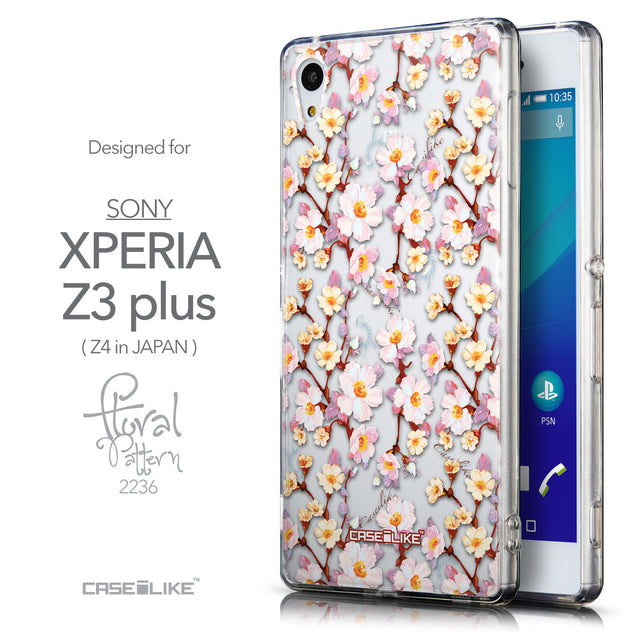 Front & Side View - CASEiLIKE Sony Xperia Z3 Plus back cover Watercolor Floral 2236