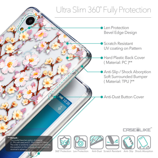Details in English - CASEiLIKE Sony Xperia Z3 Plus back cover Watercolor Floral 2236