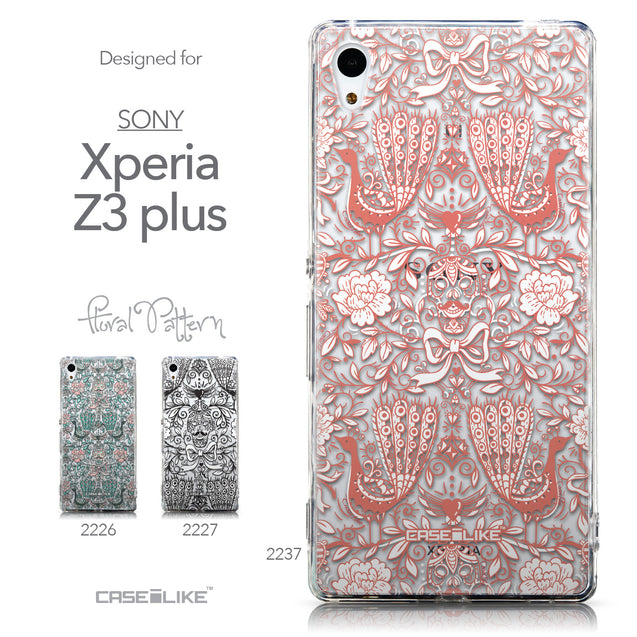 Collection - CASEiLIKE Sony Xperia Z3 Plus back cover Roses Ornamental Skulls Peacocks 2237