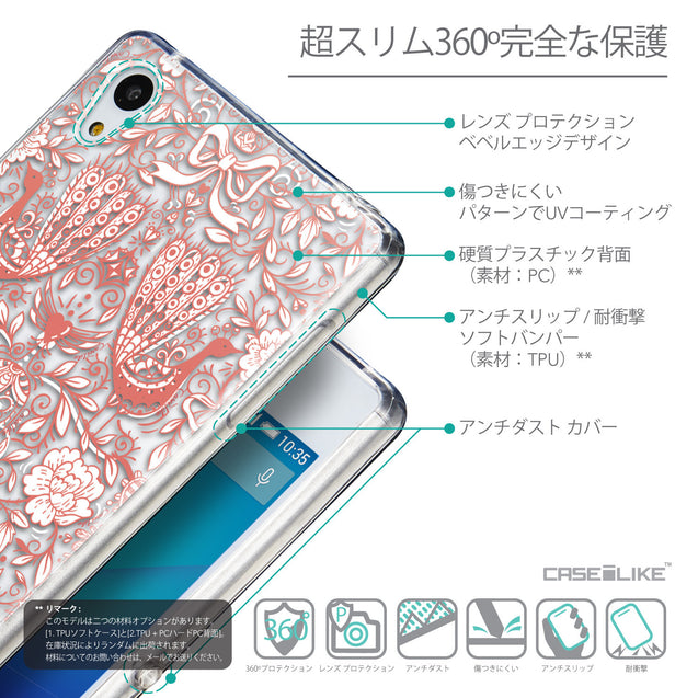 Details in Japanese - CASEiLIKE Sony Xperia Z3 Plus back cover Roses Ornamental Skulls Peacocks 2237