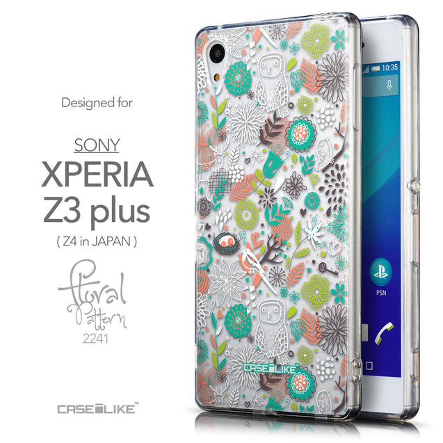 Front & Side View - CASEiLIKE Sony Xperia Z3 Plus back cover Spring Forest White 2241