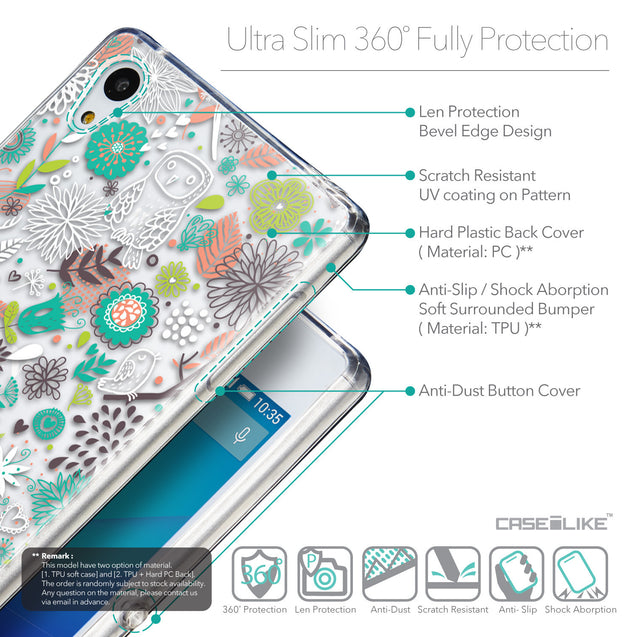 Details in English - CASEiLIKE Sony Xperia Z3 Plus back cover Spring Forest White 2241