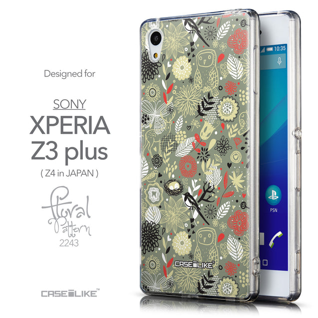 Front & Side View - CASEiLIKE Sony Xperia Z3 Plus back cover Spring Forest Gray 2243