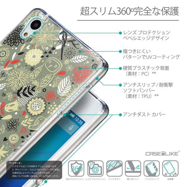 Details in Japanese - CASEiLIKE Sony Xperia Z3 Plus back cover Spring Forest Gray 2243