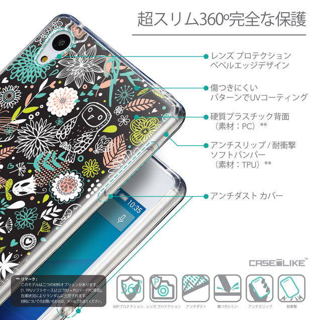 Details in Japanese - CASEiLIKE Sony Xperia Z3 Plus back cover Spring Forest Black 2244