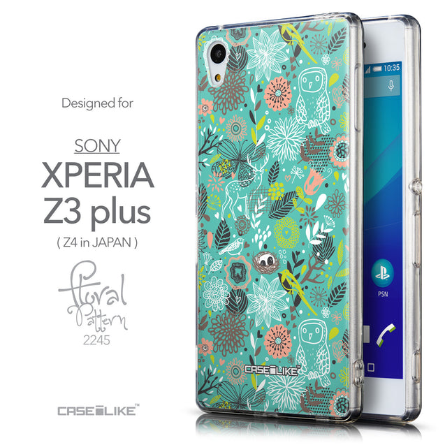Front & Side View - CASEiLIKE Sony Xperia Z3 Plus back cover Spring Forest Turquoise 2245