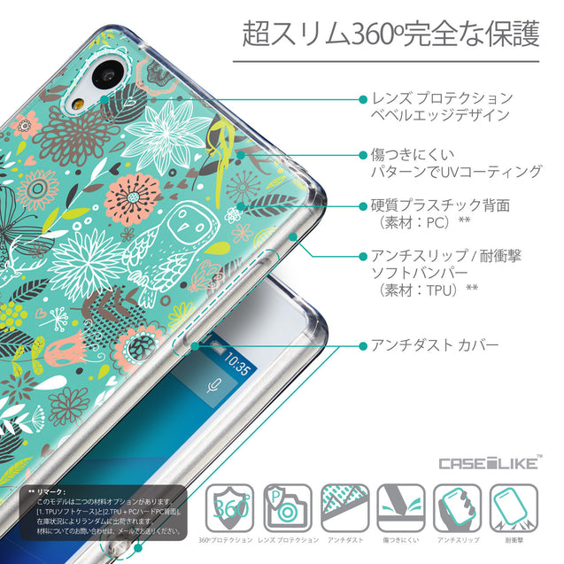 Details in Japanese - CASEiLIKE Sony Xperia Z3 Plus back cover Spring Forest Turquoise 2245