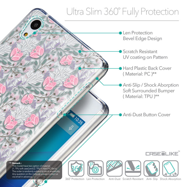 Details in English - CASEiLIKE Sony Xperia Z3 Plus back cover Flowers Herbs 2246
