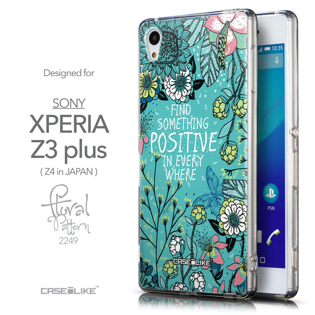 Front & Side View - CASEiLIKE Sony Xperia Z3 Plus back cover Blooming Flowers Turquoise 2249