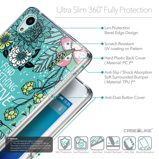 Details in English - CASEiLIKE Sony Xperia Z3 Plus back cover Blooming Flowers Turquoise 2249