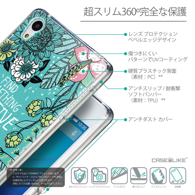 Details in Japanese - CASEiLIKE Sony Xperia Z3 Plus back cover Blooming Flowers Turquoise 2249