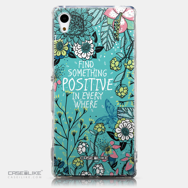 CASEiLIKE Sony Xperia Z3 Plus back cover Blooming Flowers Turquoise 2249