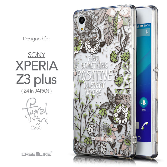 Front & Side View - CASEiLIKE Sony Xperia Z3 Plus back cover Blooming Flowers 2250