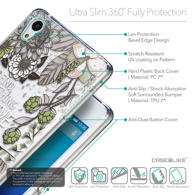 Details in English - CASEiLIKE Sony Xperia Z3 Plus back cover Blooming Flowers 2250