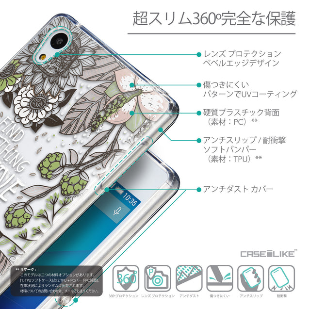 Details in Japanese - CASEiLIKE Sony Xperia Z3 Plus back cover Blooming Flowers 2250