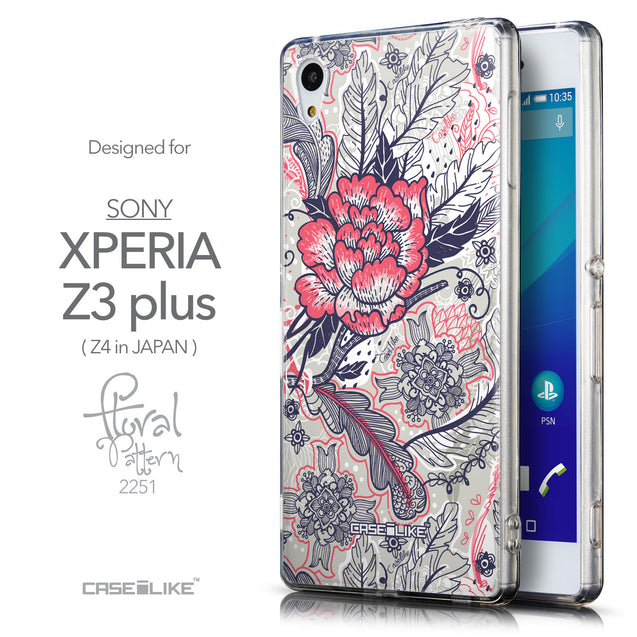 Front & Side View - CASEiLIKE Sony Xperia Z3 Plus back cover Vintage Roses and Feathers Beige 2251