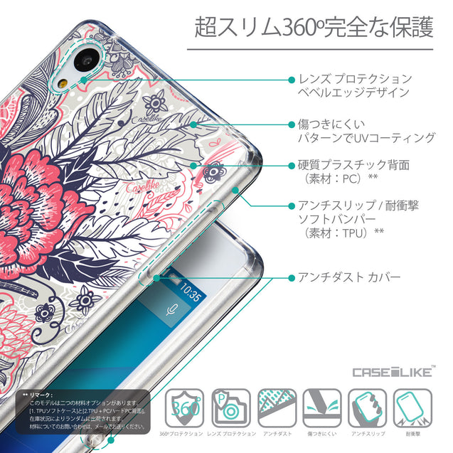 Details in Japanese - CASEiLIKE Sony Xperia Z3 Plus back cover Vintage Roses and Feathers Beige 2251