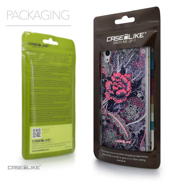 Packaging - CASEiLIKE Sony Xperia Z3 Plus back cover Vintage Roses and Feathers Blue 2252
