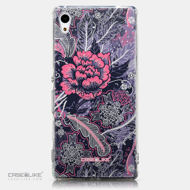 CASEiLIKE Sony Xperia Z3 Plus back cover Vintage Roses and Feathers Blue 2252