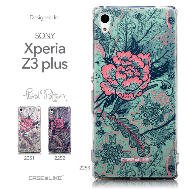 Collection - CASEiLIKE Sony Xperia Z3 Plus back cover Vintage Roses and Feathers Turquoise 2253