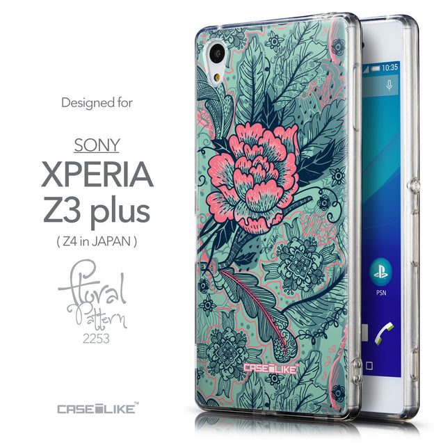 Front & Side View - CASEiLIKE Sony Xperia Z3 Plus back cover Vintage Roses and Feathers Turquoise 2253