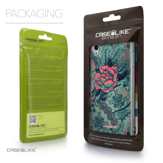 Packaging - CASEiLIKE Sony Xperia Z3 Plus back cover Vintage Roses and Feathers Turquoise 2253