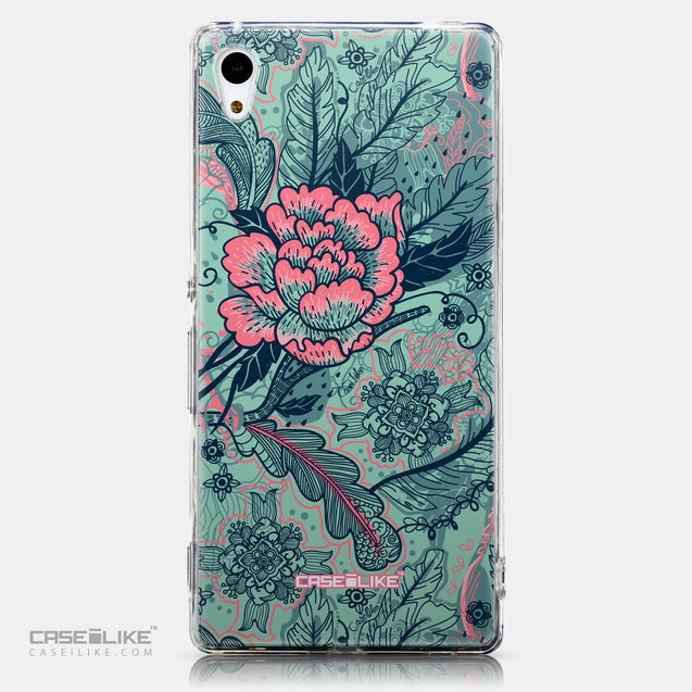 CASEiLIKE Sony Xperia Z3 Plus back cover Vintage Roses and Feathers Turquoise 2253