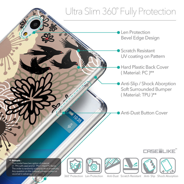 Details in English - CASEiLIKE Sony Xperia Z3 Plus back cover Japanese Floral 2254