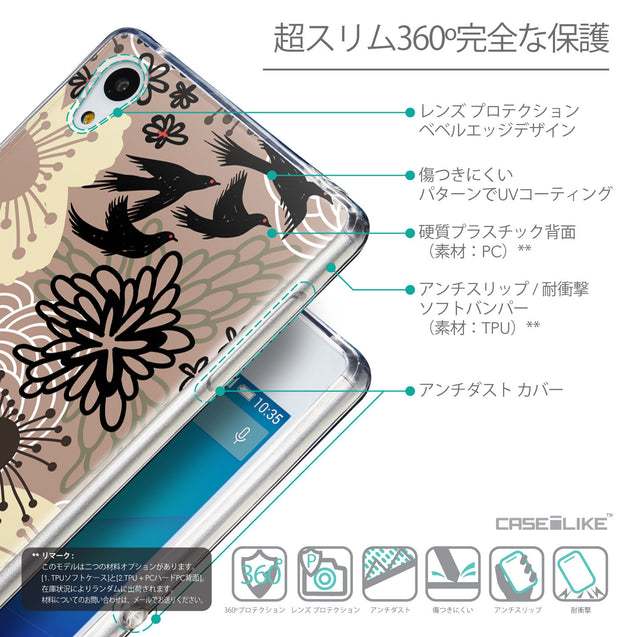 Details in Japanese - CASEiLIKE Sony Xperia Z3 Plus back cover Japanese Floral 2254