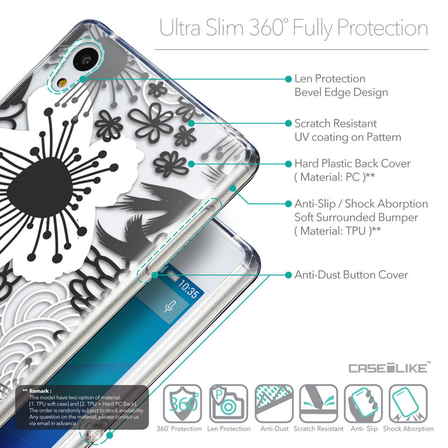 Details in English - CASEiLIKE Sony Xperia Z3 Plus back cover Japanese Floral 2256