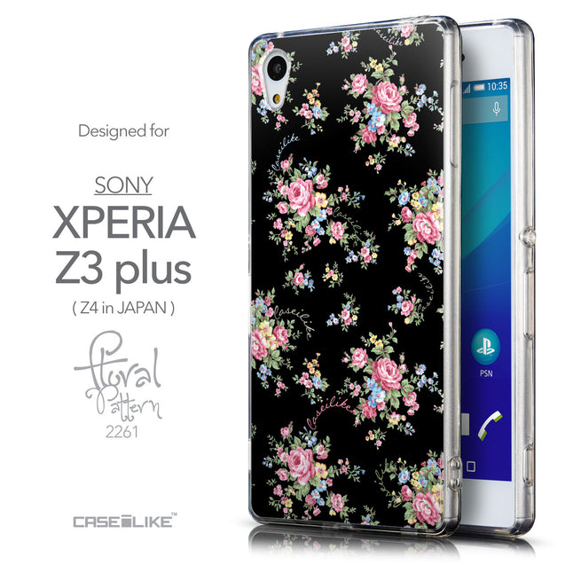Front & Side View - CASEiLIKE Sony Xperia Z3 Plus back cover Floral Rose Classic 2261