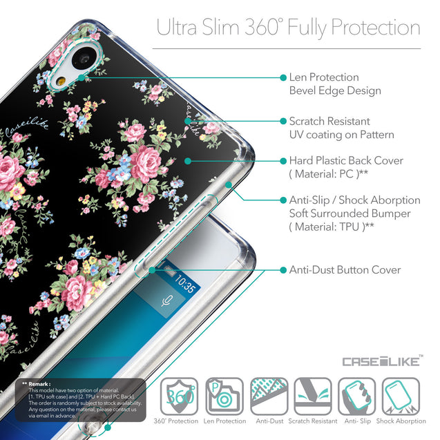 Details in English - CASEiLIKE Sony Xperia Z3 Plus back cover Floral Rose Classic 2261