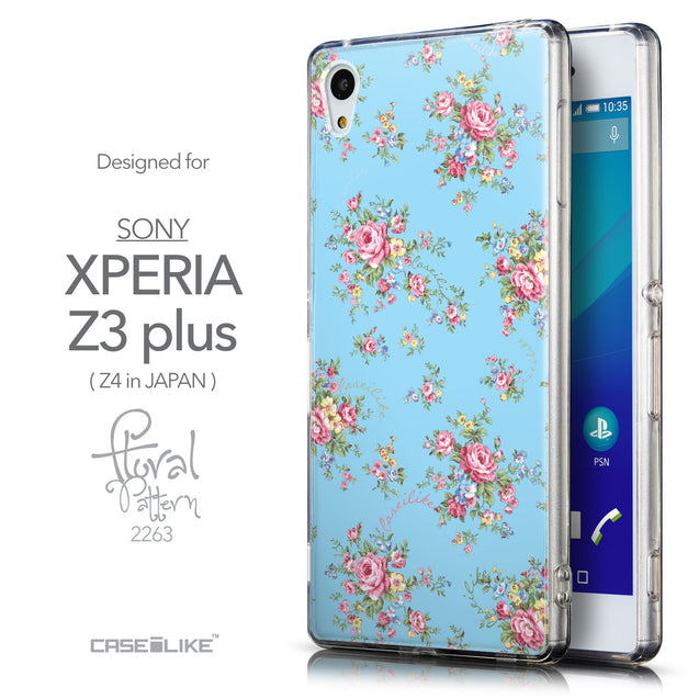 Front & Side View - CASEiLIKE Sony Xperia Z3 Plus back cover Floral Rose Classic 2263