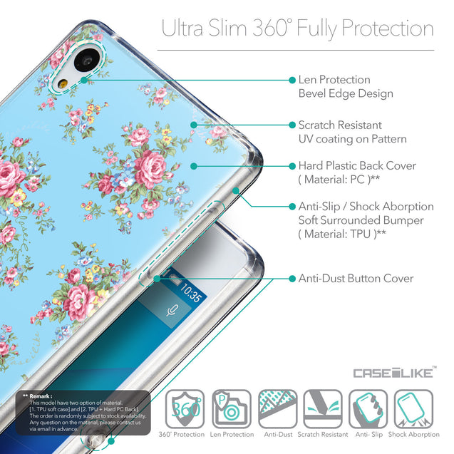 Details in English - CASEiLIKE Sony Xperia Z3 Plus back cover Floral Rose Classic 2263
