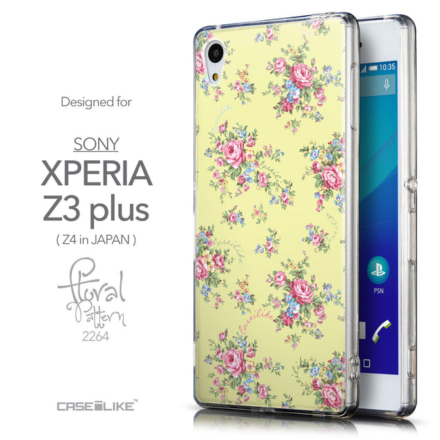 Front & Side View - CASEiLIKE Sony Xperia Z3 Plus back cover Floral Rose Classic 2264