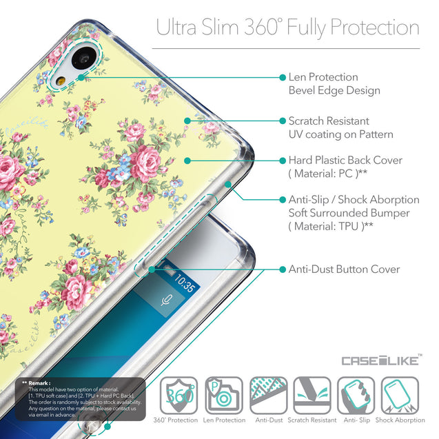 Details in English - CASEiLIKE Sony Xperia Z3 Plus back cover Floral Rose Classic 2264