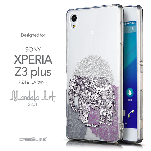 Front & Side View - CASEiLIKE Sony Xperia Z3 Plus back cover Mandala Art 2301