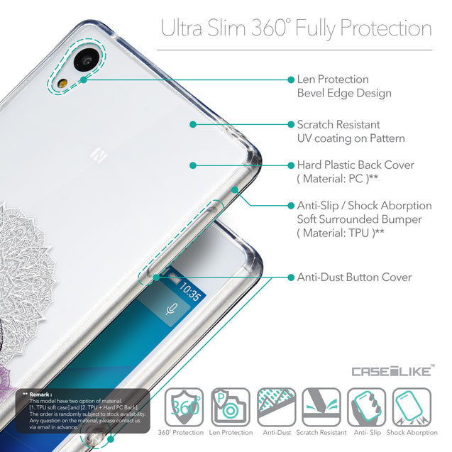 Details in English - CASEiLIKE Sony Xperia Z3 Plus back cover Mandala Art 2301