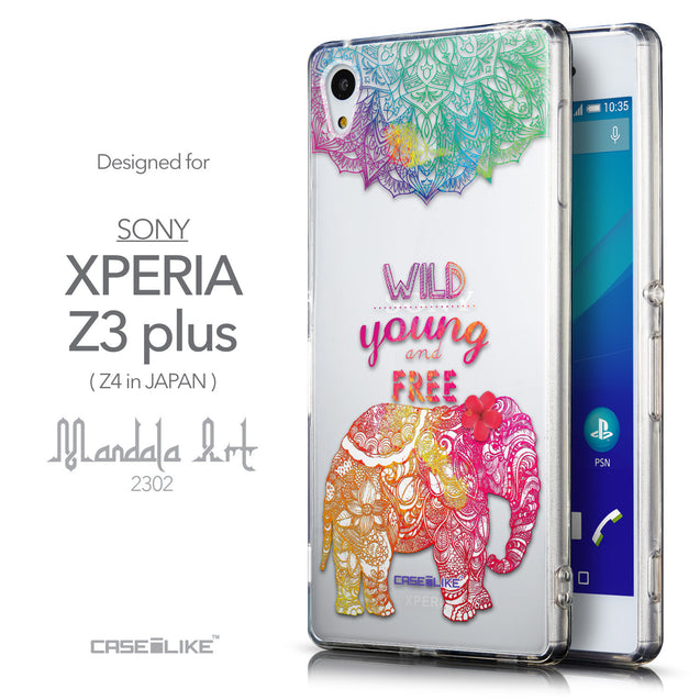 Front & Side View - CASEiLIKE Sony Xperia Z3 Plus back cover Mandala Art 2302