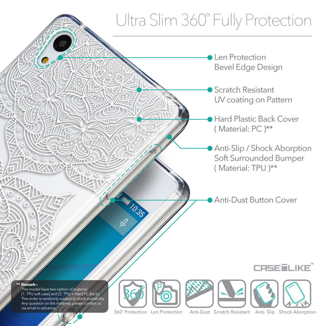 Details in English - CASEiLIKE Sony Xperia Z3 Plus back cover Mandala Art 2303