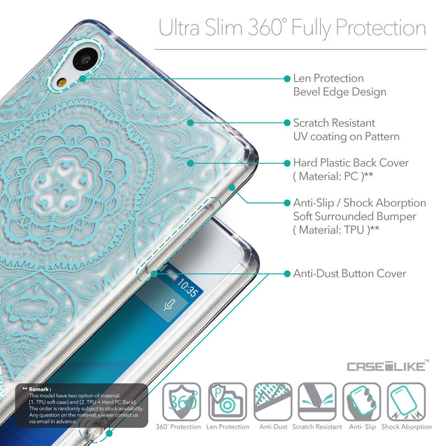 Details in English - CASEiLIKE Sony Xperia Z3 Plus back cover Mandala Art 2306